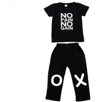 Baby Boy Clothes New Summer Autumn Black Short Sleeve Shirt  Top With Casual Long Pants 2pcs Suit Kids Clothes For Boys