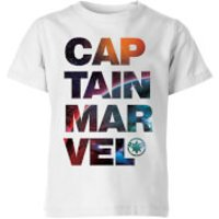 Captain Marvel Space Text Kids' T-Shirt - White - 7-8 Years - White