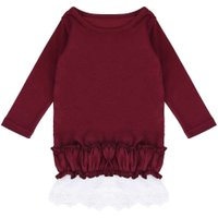 Fashion Mom Kids Dress Spring Autumn Red Lace Dresses Mommy Daughter Family Matching Clothing T-shirt Tops Clothes