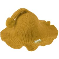 Fashional Style winter Kids Girls Sweet Cap Newborn Baby Pearl Beads Hat Cute Kids Lace Flounced Wool Cap Knitted Caps